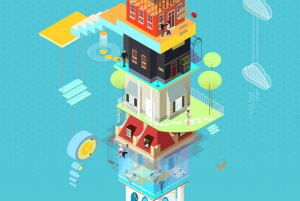 dieci come le case che ho vissuto - isometric illustration, concept art, graphic design, flat by Elisa Bellotti illustrator and digital artist.