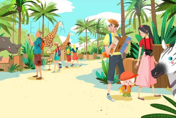 Zoo - Stai fermo Toto - Mondadori - progetto libro illustrato per bambini - children's book by Elisa Bellotti Illustrator and digital artist