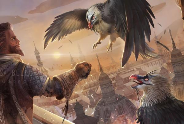 Tamer of vultures illustration, fantasy illustration, concept art, character design by Elisa Bellotti illustrator and digital artist.
