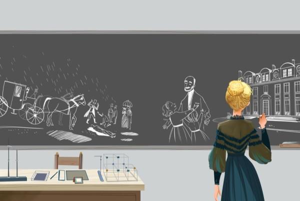 Marie Curie - Io sono Marie Curie edito da Nui Nui, illustrato da Elisa Bellotti. Libro per ragazzi, storie di autori, storia di Marie Curie