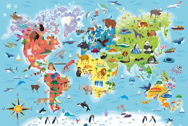 Scopriamo il Mondo (16339) Planisfero animali-Clementoni-Elisa Bellotti